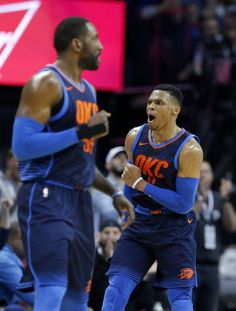 b1ef2612 Oklahoma City's Russell Westbrook (0) celebrates during the NBA basketball  game between the Philadelphia