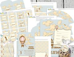 Custom Vintage Hot Air Balloon Party - Invitation, Cupcake Toppers, Banner and More. $40.00, via Etsy.