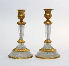 Pair of gilt-bronze and rock crystal candlesticks
