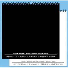 Foto- und Bastelkalender schwarz weiss matt für 30x40 Bilder: Immerwährender  Kalender 41x43 cm für Bilder 30x40 cm quer