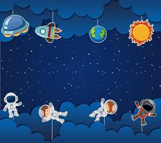 Space Theme Classroom, Diy And Crafts, Crafts For Kids, Kids Background, Powerpoint Background Design, Space Illustration, Space Party, Class Decoration, School Frame