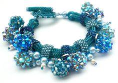 Rivoli Beadwoven Blue Bracelet Unique  Beaded Beadwork Beadweaving Jewelry  Inspired By Picasso. $80.00, via Etsy.