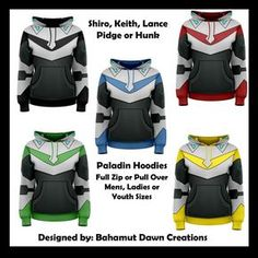 Hey, I found this really awesome Etsy listing at https://www.etsy.com/listing/474642836/voltron-paladin-inspired-zip-up-hoodies