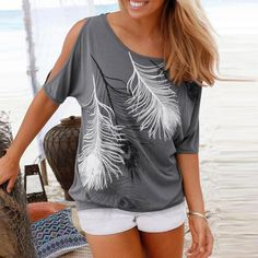 Womens Cold Shoulder Top with Feather Print Feather Pattern, Feather Print, Grey Fashion, Women's Summer Fashion, Fashion Women, Latest Fashion, Women's Fashion, Fashion Dresses, Tee T Shirt