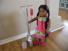 IV Cart for Pet Hospital and Boarding Set for American Girl Doll or Pets