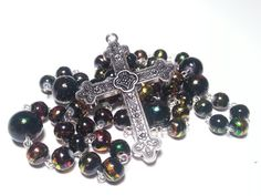 Black and Gold Rosary Black Rosary Beaded by DCArtandPhotography