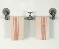Industrial Metal Towel Rack with Valve - Set of 2 - CustomVinylDecor.com