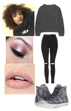 """""""Untitled #949"""" by lea113111 ❤ liked on Polyvore featuring Uniqlo, Topshop, Converse and Too Faced Cosmetics"""