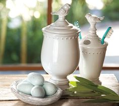 sweet bird bathroom items--perfect for lttle egg soaps from Dawn at the Feathered Nest