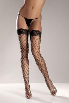 Carmelles Treasures * Super Sexy Clothing | Mega Sex Toys - Black Spandex Thigh High Fence Net W/ Stay Up Lace T0P