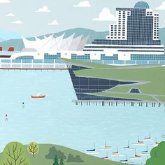 Canada Place and Convention Centre -Vancouver Landmark art print, home decor  Vancouver landmark art print with a unique Mid-Century / Folk Art take. A perfect Vancouver gift idea for any city lover or that poor soul that is leaving town. Purchase on www.snowalligator.com  Illustration by artist Jason Blower  #yvr #yvrart #yvrwallart #wallart #Vancouverart #Vancouvergift #yvrgift #snow_alligator #charmingart #cuteart #midCentury #Folkart #cuteart #charmingart #yvrlove