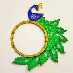 Peacock Wall Hanging | DIY - Crafts | Peacock Making | Peacock Craft | How to Make By Punekar Sneha Peacock Crafts, Projects To Try, Diy Crafts, Wall, How To Make, Painting, Home Decor, Decoration Home, Room Decor