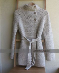 Top down crochet Crochet Coat, Crochet Winter, Crochet Jacket, Crochet Cardigan, Cute Crochet, Crochet Clothes, Knitting Magazine, Tunisian Crochet, Cardigan Pattern