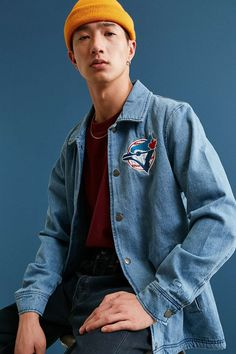 Starter X UO MLB Toronto Denim Coach Jacket - Urban Outfitters