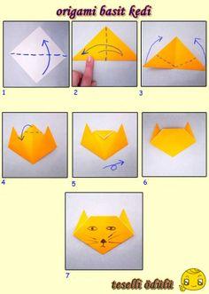 origami basit kedi yapım.