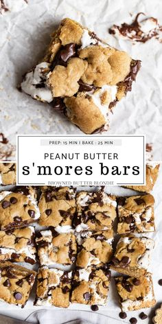 Peanut Butter S'mores Bars | Browned Butter Blondie | These peanut butter s'mores bars have all of your favorite summertime flavors stuffed into one easy and dangerously delicious cookie bar recipe. Put these bars on repeat all summer long!