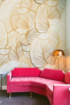 10 Wonderful DIY Beautiful Wall Mural Design Ideas For Decorating Your Home Wallpaper Color, Leaves Wallpaper, Botanical Wallpaper, Tropical Wallpaper, Paper Houses, Diy Home Improvement, New Wall, Beautiful Wall, Easy Install