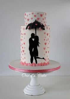 Bridal shower cake ideas will satisfy your taste for sweetness. Here are pictures of stand out designs that will put the icing on the cake and the cupcakes. Gorgeous Cakes, Pretty Cakes, Cute Cakes, Amazing Cakes, Silhouette Cake, Bolo Cake, Tier Cake, Cupcake Fondant, Valentines Day Cakes