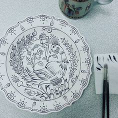 ~(^з^)-♡ #mywork #handmade #draw #tile #turkish #islamic #art #china #ceramic…