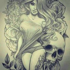 Beautiful Girl and Skull Drawing • Art and Graphics Pin Up Tattoos, Skull Tattoos, Body Art Tattoos, Girl Tattoos, Skeleton Tattoos, Chicano Tattoos, Tattoo Sketches, Tattoo Drawings, Art Sketches