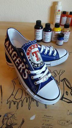 Custom TEXAS RANGERS inspired fan art shoes by RubyRoseSlippers