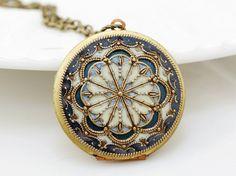 Beautiful...Locketblue locketfiligree locket resin locketBridal by emmagemshop, $69.99