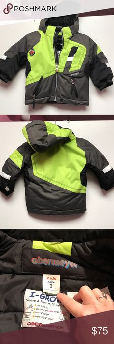 Obermeyer 12 to 18m boys Parka Obermeyer 12 to 18m boys Parka in like new clean condition. Can fit up to an 18m. Gorgeous lime green and black. Perfect condition. Consigned to my boutique no trades  I have the matching size snow big in another listing. Bundle them together to save shipping. Obermeyer Jackets & Coats