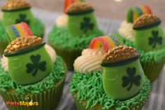 Airheads Xtreme Rainbow Sour Candy Strips - Pot of Gold St Patricks Day Cupcake Rings - Cute Dessert