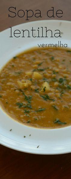 Receita de sopa de ervilha vermelha cremosa, vegana, livre de gluten e de baixas calorias, perfeito para congelar e ter sempre uma sopa confortante!