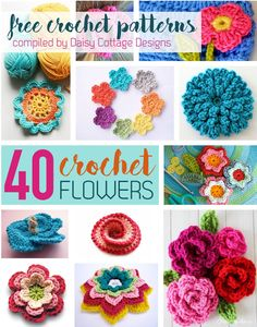 Roundup: 40 free crochet flower patterns, curated by Daisy Cottage Designs