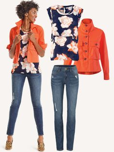 Love the orange and navy combination for Spring.  See the article for other great combos!