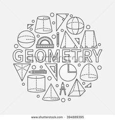 Geometry round symbol - vector math circle background made with outline geometric shapes - stock vector School Book Covers, Math Formulas, School Notebooks, Binder Covers, Bullet Journal Inspiration, Cover Pages, Doodle Art, Geometric Shapes, Coloring Pages