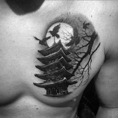 60 Pagoda Tattoo Designs For Men - Tiered Tower Ink Ideas Japanese Temple Tattoo, Small Japanese Tattoo, Top Tattoos, Life Tattoos, Teardrop Tattoo, Tattoo No Peito, Half Sleeve Tattoos For Guys, Modern Tattoos, Samurai Mask Tattoo
