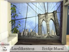 Modern Mural Sims 4 Build, Sims Community, Electronic Art, 13 Year Olds, Brooklyn Bridge, Floors, Walls, Modern, Wands