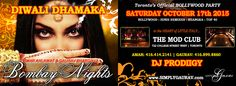 Toronto's #1 BOLLYWOOD Party:: BOMBAY NIGHTS: DIWALI DHAMAKA :: MUSIC BY: DJ PRODIIGY DJ's will be spinning the very best in…BOLLYWOOD HITS : HINDI REMIXES : BHANGRA : TOP 40 When: Saturday, 17 October 2015 Where: The Mod Club Time: 10:30 pm – 2:30 am Tickets: $20 and you can purchase them HERE. :: REDUCED … Diwali Dhamaka, Bollywood Party, Top 40, Spinning, Toronto, Dj, October, Events, Asian