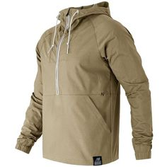 New Balance Anorak Jacket ($39) ❤ liked on Polyvore featuring men's fashion, men's clothing, men's outerwear, men's jackets, jackets, brown, mens lightweight jacket, mens light weight jackets, mens hooded jackets and mens brown jacket