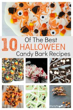 10 super easy Halloween candy bark recipes the whole family will love. These are the ultimate fun chocolate Halloween treats which kids will enjoy helping to make. Choose the candy of choice and enjoy this no-bake treat. Halloween Bark, Halloween Baking, Halloween Chocolate, Halloween Snacks, Easy Halloween, Halloween Goodies, Halloween Parties, Halloween Stuff, Halloween Decorations