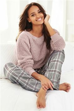 Comfy and stylish women's nightwear & sleepwear - pyjamas, robes & nighties. Luxurious styles in cosy designs. Next day delivery and free returns available. Cute Sleepwear, Loungewear Set, Lingerie Sleepwear, Nightwear, Cozy Pajamas, Pyjamas, Cute Pjs, Home Outfit, Pajamas Women