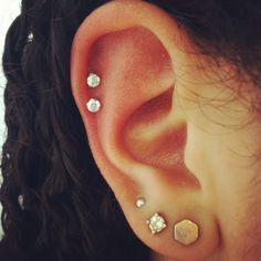 This is exactly what I have except my cartilage piercings are slightly higher