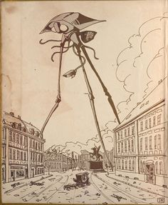 In a fastasy scenario (part of a sequence of fantastical images presented in a gallery), giant signs could be visualised around Letchworth. Unlike this image of a tripod from the War of the Worlds they'd not be overtly threatening.