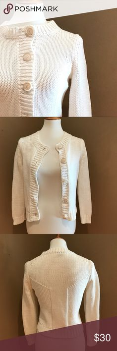 """Theory Knit Cream Cardigan Sweater M Theory  Knit button front cardigan sweater Size Medium Measures approx 17"""" across the bust and 18"""" long Cream white 100% Cotton Gently pre-owned and ready to wear Theory Sweaters Cardigans"""