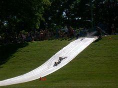homemade waterslides | HALFWAY TO SIXTY: The Super Slip N' Slide @ Brooklyn Park