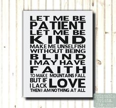 Inpirational Art Print Let Me Be Patient Let Me Be Kind