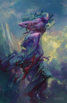 "scifi-fantasy-horror: "" Tamiel, Angel of the Unseen by Peter Mohrbacher "" Fantasy Creatures, Mythical Creatures, Peter Mohrbacher, Kunst Online, Angels And Demons, Fallen Angels, Creature Design, Dark Fantasy, Dark Art"