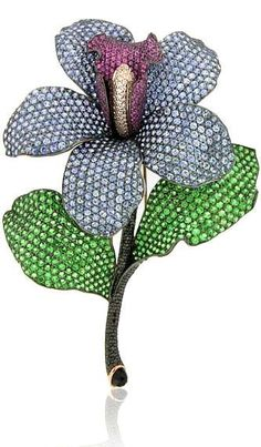 Zorab Atelier de Creation Tiger Lily Flower brooch in gold and silver, featuring black diamonds, blue sapphires, pink sapphires, tsavorite garnets and white diamonds.