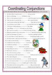 English worksheet: Coordinating Conjunctions