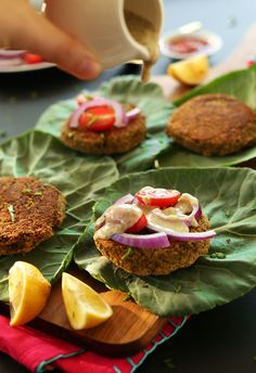 SIMPLE, Healthy Baked Falafel Burgers perfect on pita or greens! #vegan and naturally #glutenfree