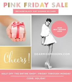 Chic Design | Instant Branding. The Dear Miss Modern Once a Year Sale Happens this Friday-Monday. Half off the entire shop. {November 29-Dec 2) Code:  HOLIDAY