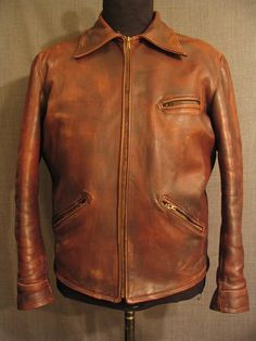 Leather Jacket Men's 1930's, brown heavyweight, Norfolk style back