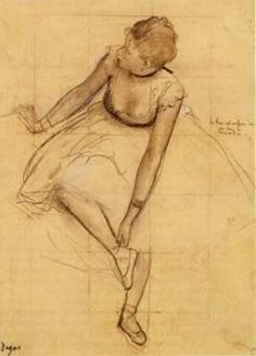 Edgar Degas, Dancer Adjusting Her Slipper, c. 1874 Pencil, charcoal, and white chalk on paper, 327 x 245 mm Metropolitan Museum of Art, New York